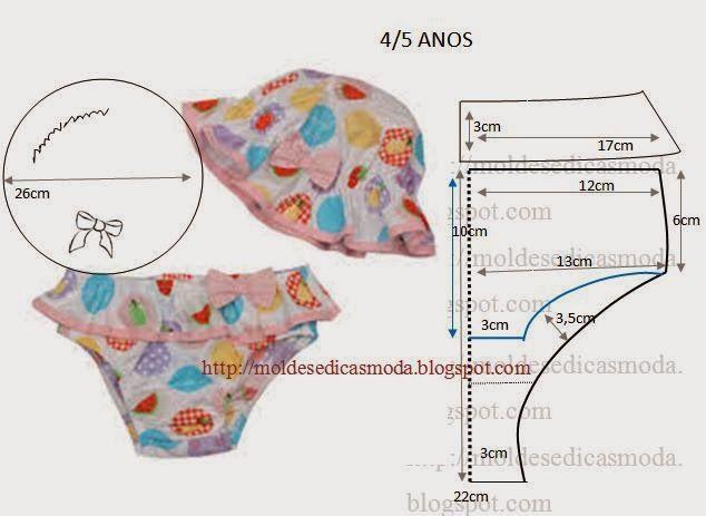 Moldes Moda por Medida: KIT DE PRAIA PARA CRIANÇA 4/5 ANOS