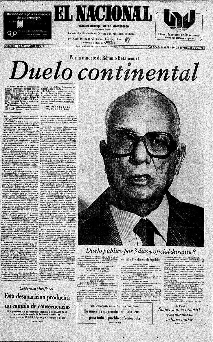 """""""Duelo Continental"""" Portada de El Nacional 29 de septiembre de 1981 que reseña la Muerte de Rómulo Betancourt."""