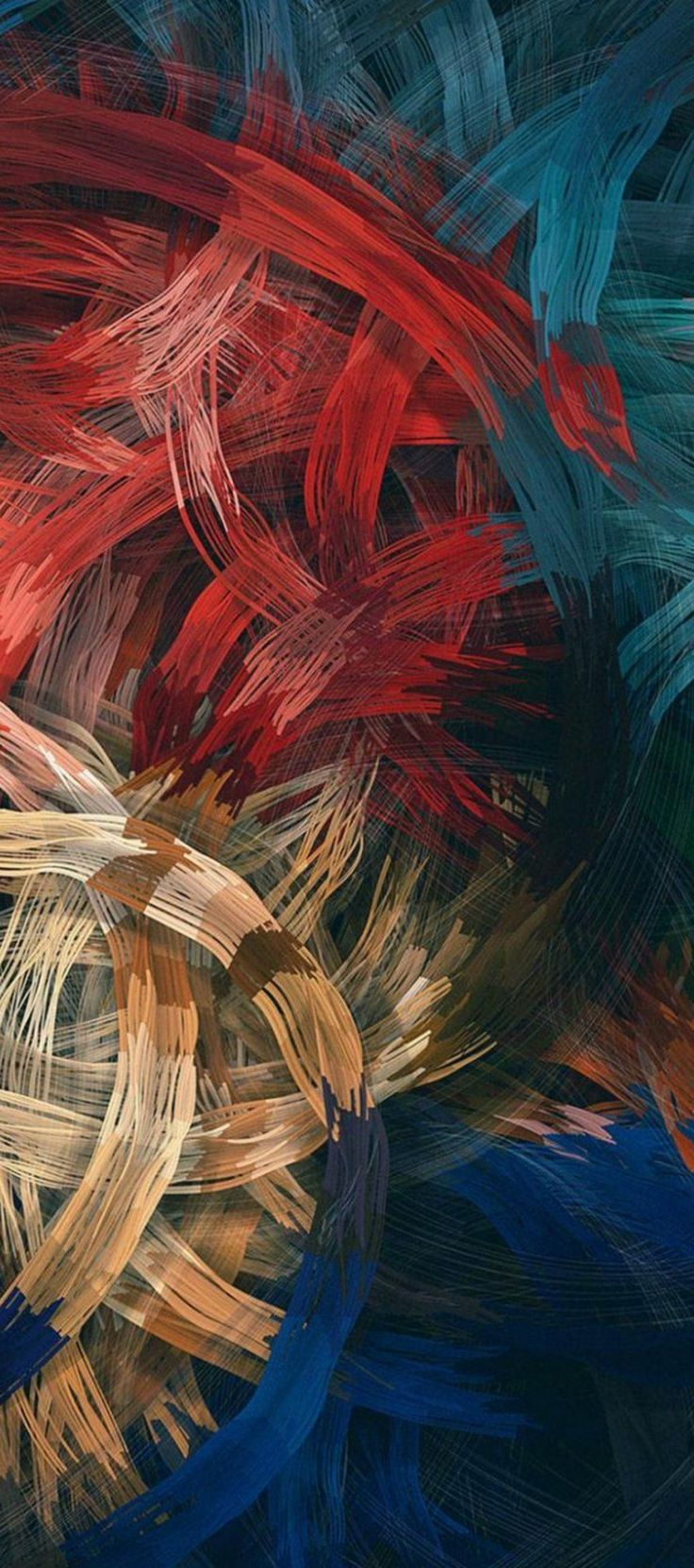 Brush strokes, red, orange, blue, wallpaper, clean, galaxy, colour, abstract, digital art, s8, walls, Samsung, galaxy s8, note