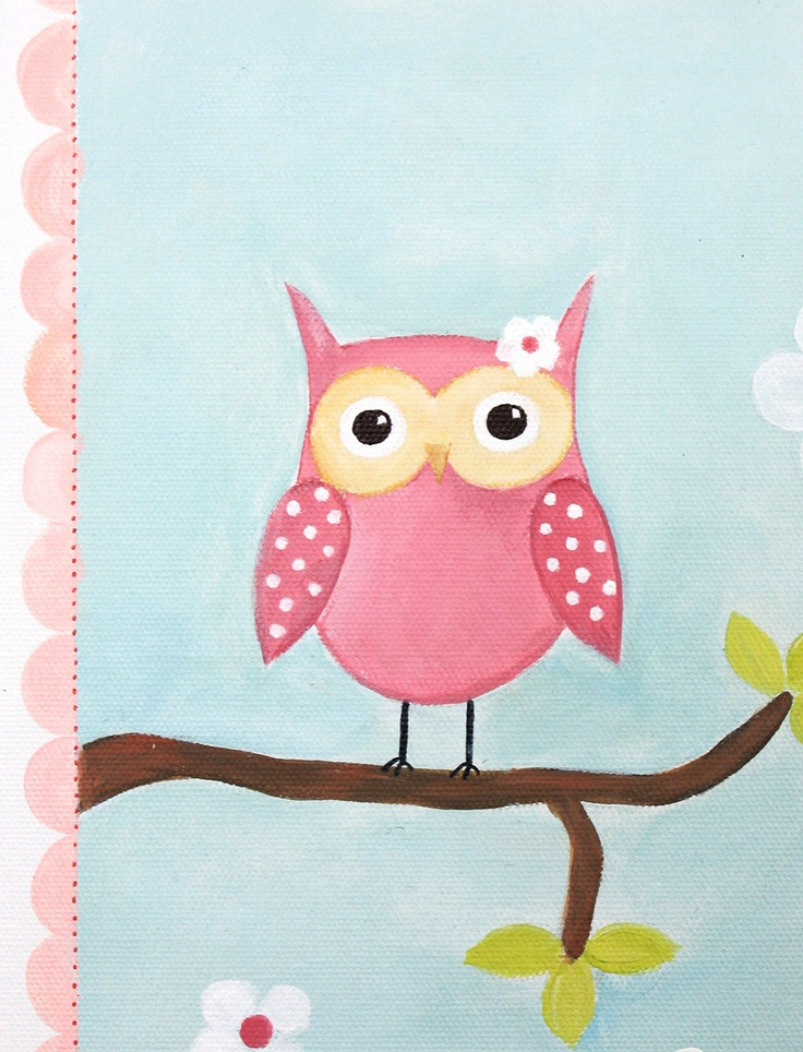 Pink owl decor acrylic painting baby shower by emugallery for Baby owl decoration