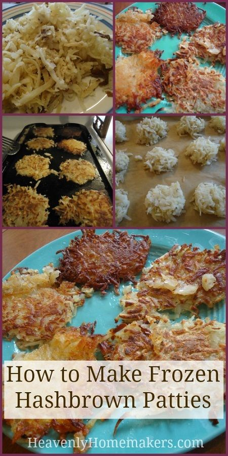 How to Make Frozen Hashbrown Patties--bake potatoes, shred, freeze on cookie sheets. To cook, heat oil and cook for 2 min on each side.