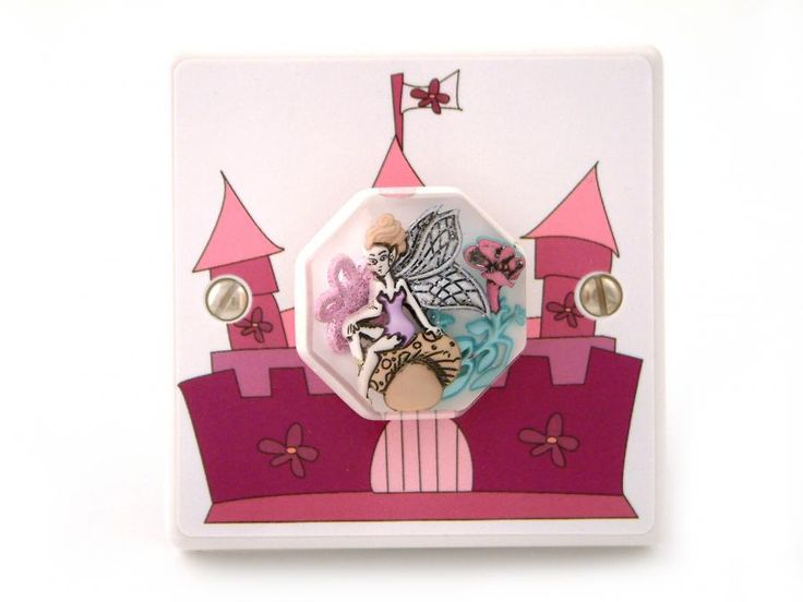 girls pink fairy castle light switch with miniature fairy handmade in the uk by candy