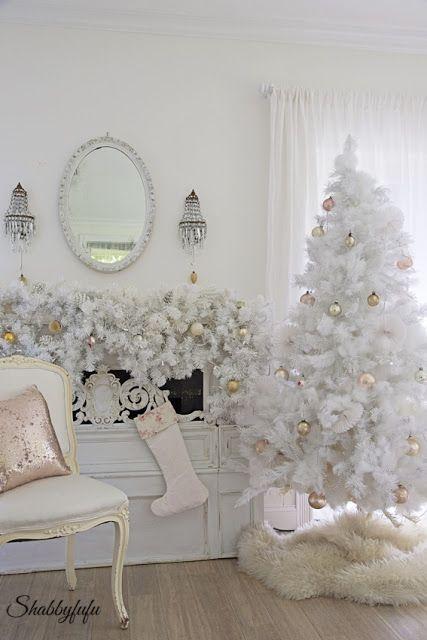 (Estilos de temáticas de Árboles de Navidad blancos para decorar. #ArbolesDeNavidadBlancos