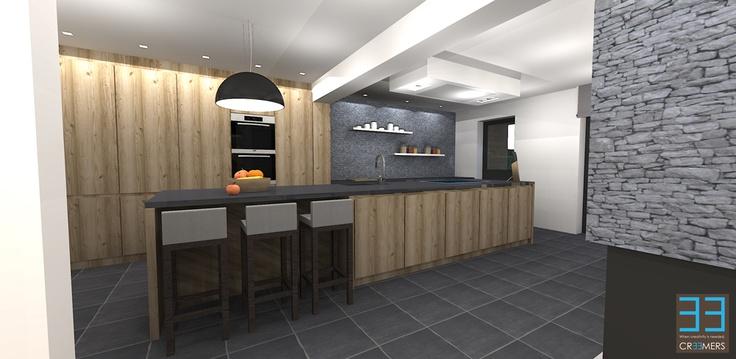 Renovation and interior concept for client SS. Modern living area with the dining room and kitchen in rough oak color accents. Renovatie en interieur concept in modern landelijke stijl te Bree voor klant SS. De zithoek en eetkamer met steenstrips en ruw eiken hout voor meubels en parket. Meer info op www.cr33mers.be