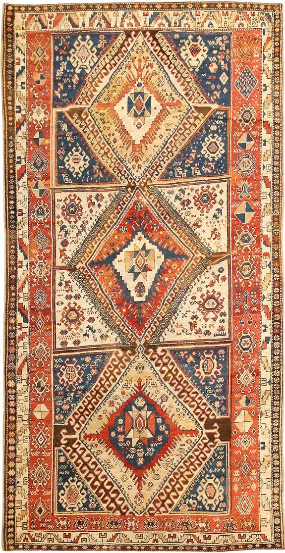 Antique Shahsavan Caucasian Rug 2922  http://nazmiyalantiquerugs.com/antique-rugs/caucasian-rugs-antique-caucasian-carpets/