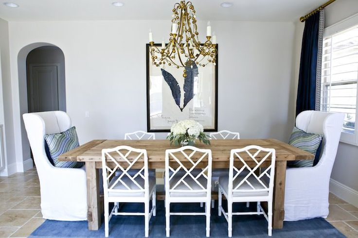 Shea McGee Design - dining rooms - Oly Studio Alice Chandelier, Farmhouse Salvaged Wood Extension Table, Belgian Slipcovered Wingback Dining...