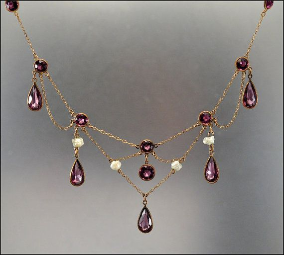 Antique Edwardian Festoon Necklace Amethyst 12K Gold Chain