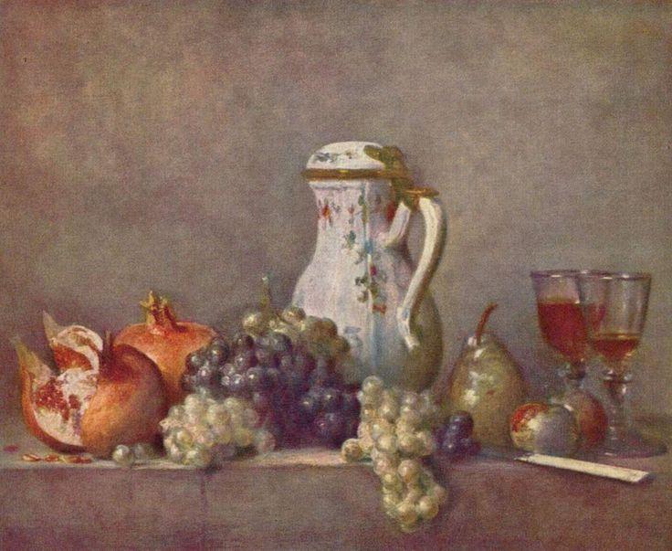 """Raisins et grenade"" de Jean-Siméon Chardin (Grande figure de la Nature Morte) 1763"