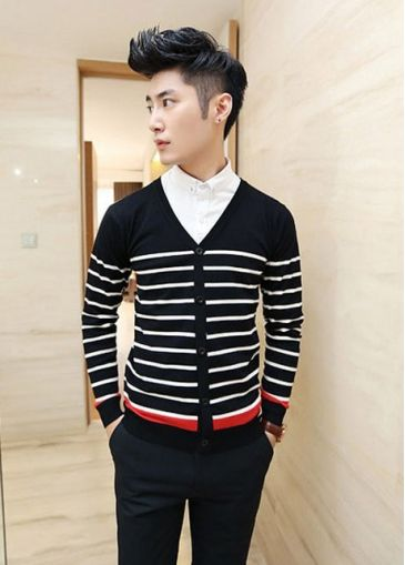 Black and White Color Blocking Men Cardigans Sweater