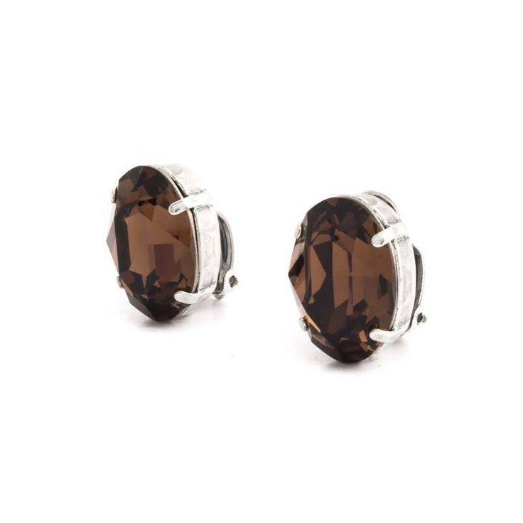 Krikor Bruine oorclips met 18 x 14 mm light smoked topaz Swarovski Elements kristallen