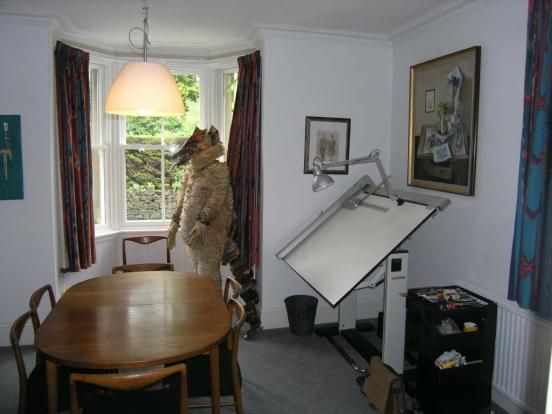 A full size stuffed...wolf?   In a house for sale??  O.M.F.G...