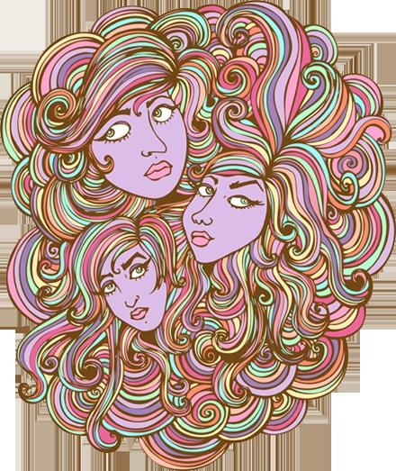 Rainbow hair girls