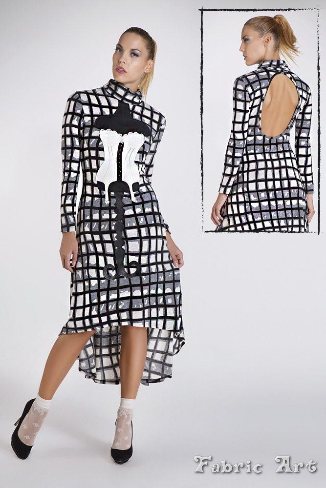 "Turtleneck dress with open back detail and handmade applique ""Vintage Corset""."