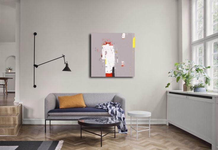 Tableau abstrait beige gris avec des touches de Jaune, artiste peintre Octave Pixel, en vente à la galerie TACT :// art contemporain & abstrait