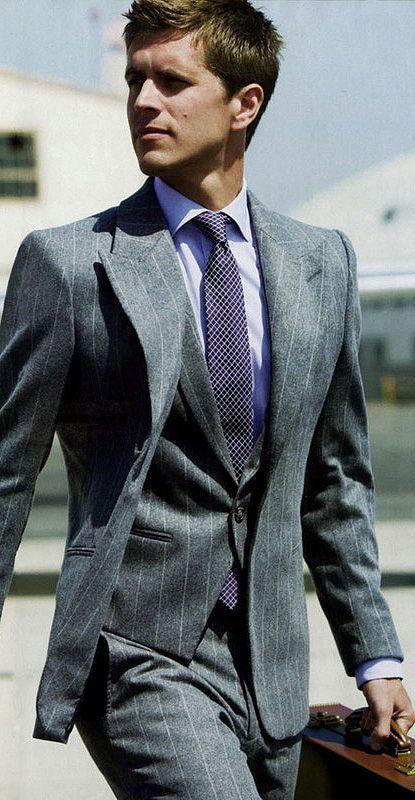 Grey Three Piece Suit + Purple Tie.