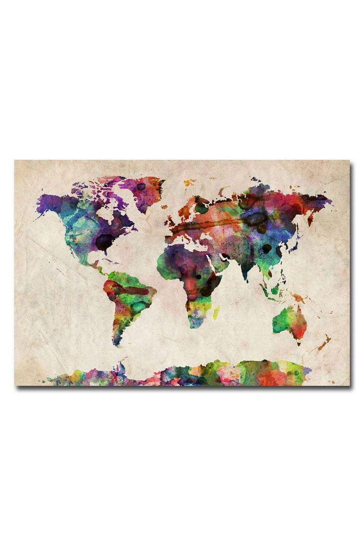 13 best world map diy images on pinterest world maps home ideas diy world map wall art tompsett urban watercolor world map gumiabroncs Gallery