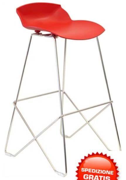 Sgabelli alti rossi (2 pz). Sgabelli da arredo scocca in poliammide rossa e struttura in acciaio. Confezione 2 pezzi.