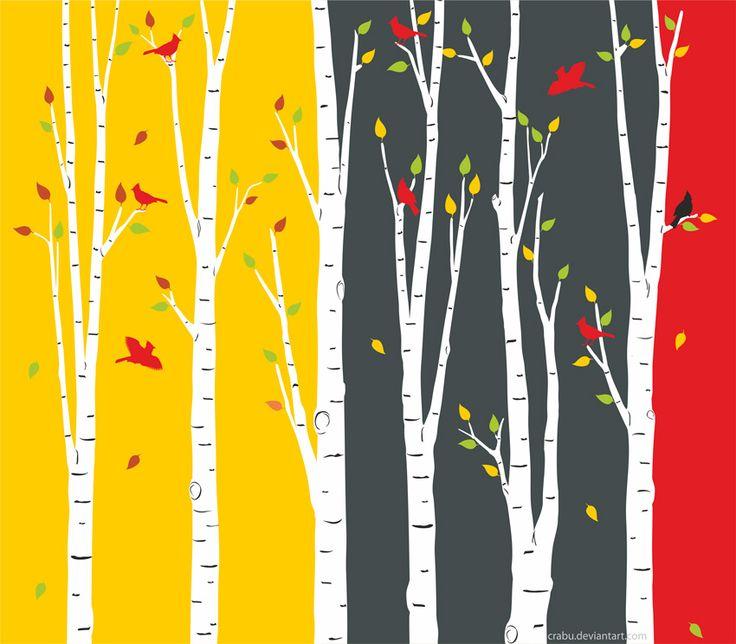 birch tree and cardinals illustration by Crabu.deviantart.com on @deviantART