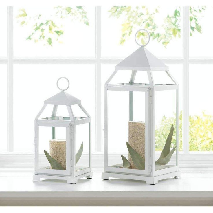 Metal White Contemporary Lantern