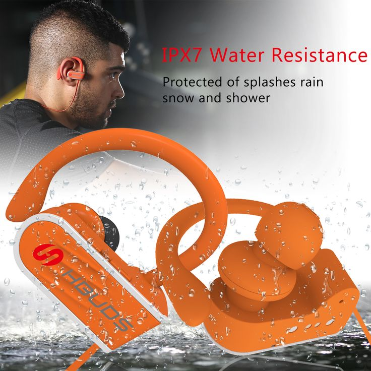 Hbuds H1 Bluetooth Headphones Wireless Sports Earphones - w/ Mic, IPX7 Waterproof, HD Stereo Sweatproof Earbuds, for Gym Running Workout, 8 Hour Battery, Noise Cancelling Headsets