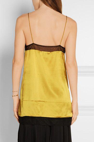 Gucci - Mesh-trimmed Silk-satin Camisole - Gold - IT38