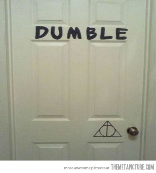 hahaha: The Doors, Dumbledoor, Front Doors, Harry Potter3, Bedrooms Doors, Dumble Doors, Harry Potter Humor, Potter Puns, Dumbl Doors