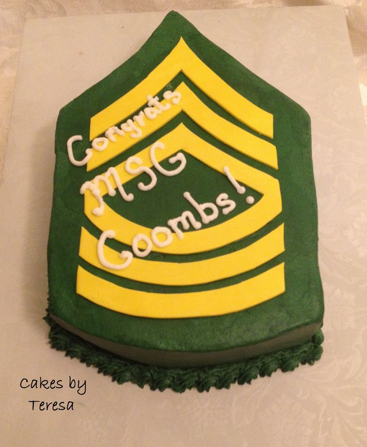 Birthday Cake Images And Msg : Army MSG rank shaped cake. Cake covered in green ...
