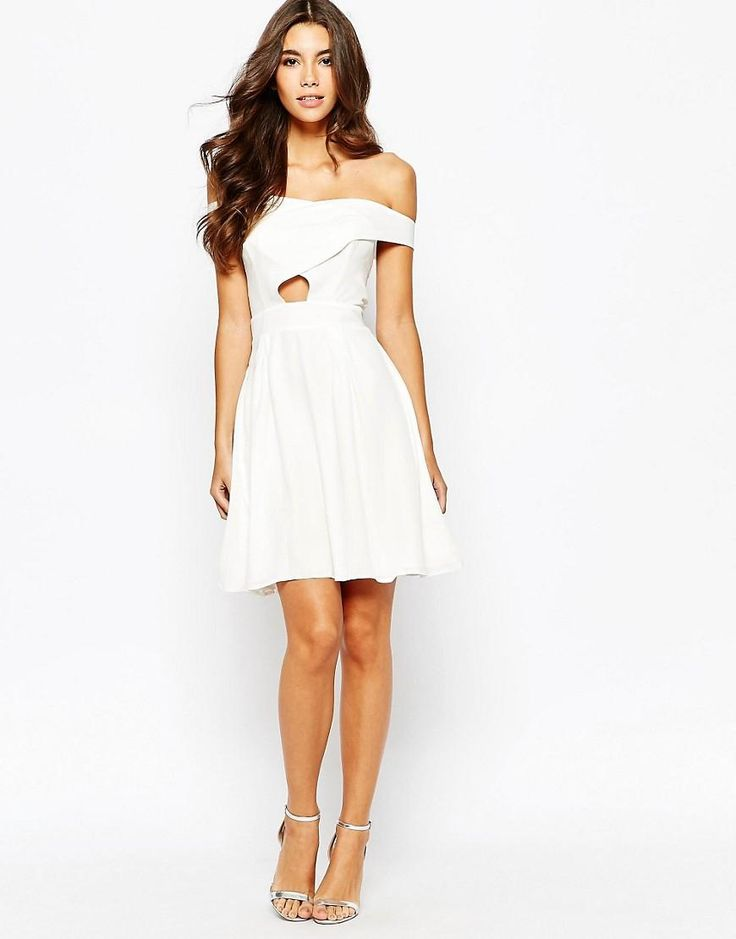 Love   Love Off Shoulder Wrap Front Skater Dress With Box Pleat Skirt at ASOS