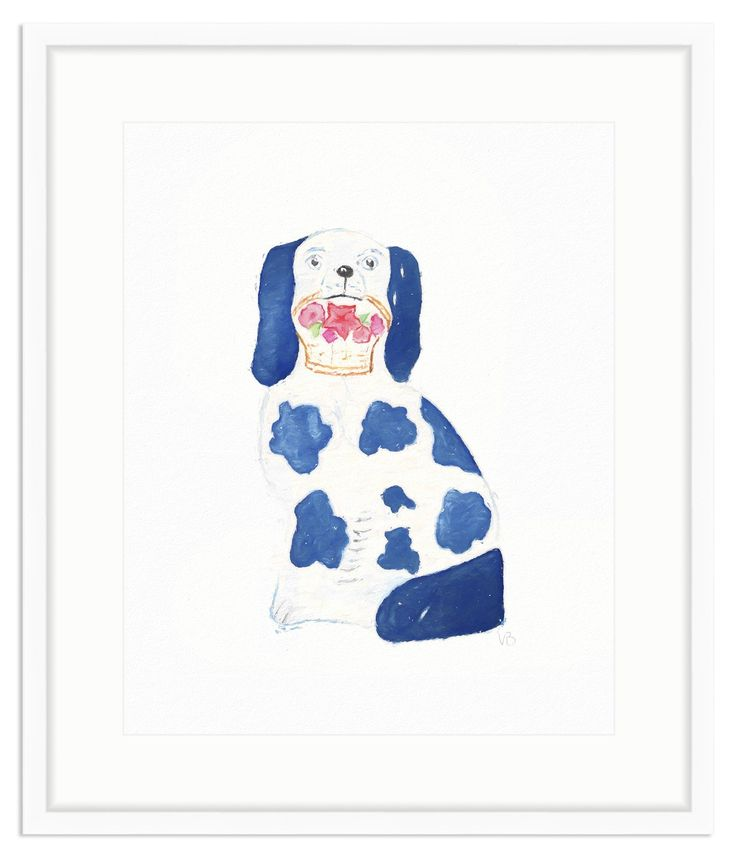 Framed Blue and White Staffordshire Dog Print – The Pink Pagoda
