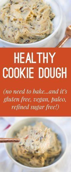 Healthy Chocolate Chip Cookie Dough (Gluten Free, Vegan, Paleo, Refined Sugar…