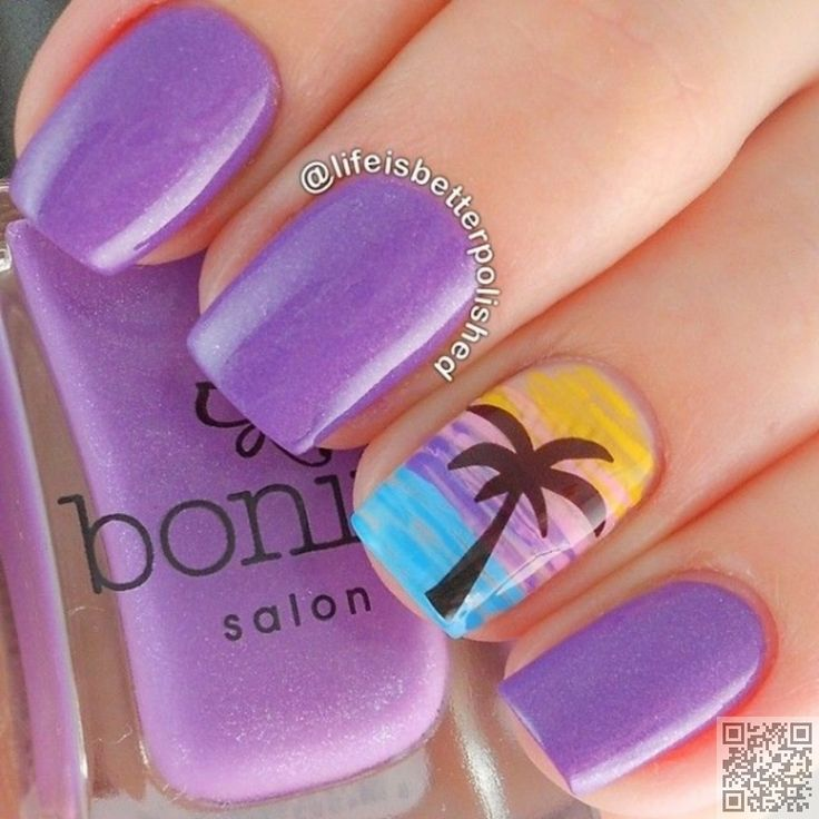30. #Purple Beach Nail Art - 40 Awesome Beach #Themed Nail Art Ideas to… #Beach