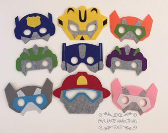 CONJUNTO de máscaras fiesta 9 de Rescue Bots, Bots favores de partido, Rescue Bots cumpleaños, Rescue Bots decoraciones fiesta, fiesta de robots de rescate, Rescue Bots del rescate
