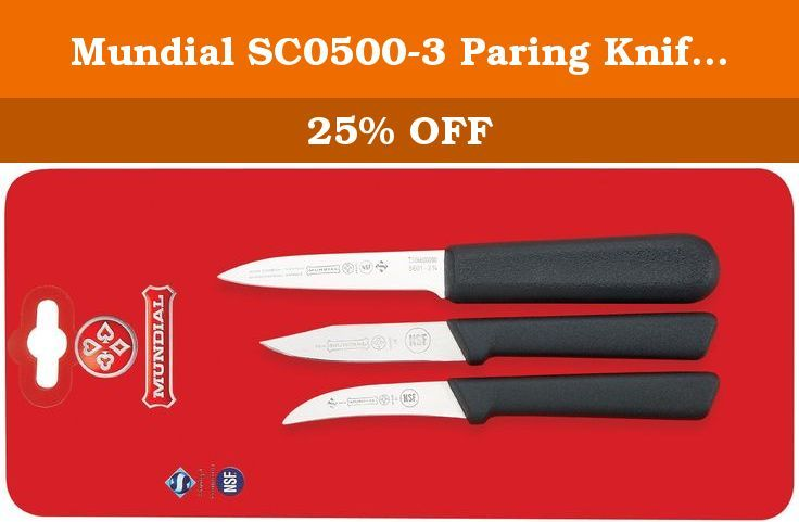 Mundial SC0500-3 Paring Knife Collection, Set of 3, Black. Professional chefs are the most demanding users of kitchen tools. They count on products that enable them to do their best-day in and day out-with speed, precision and ease. That's why chefs all around the world have made Mundial their top choice for professional-grade knives and accessories. Mundial knives are NSF approved, ensuring that they meet all foodservice industry standards for sanitation. Mundial 5600 Series knives and...