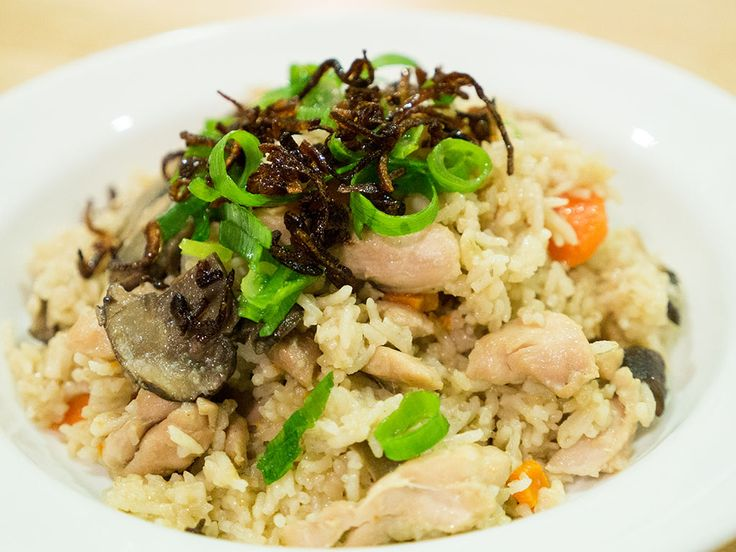 Purple bowl: Chicken mushroom rice