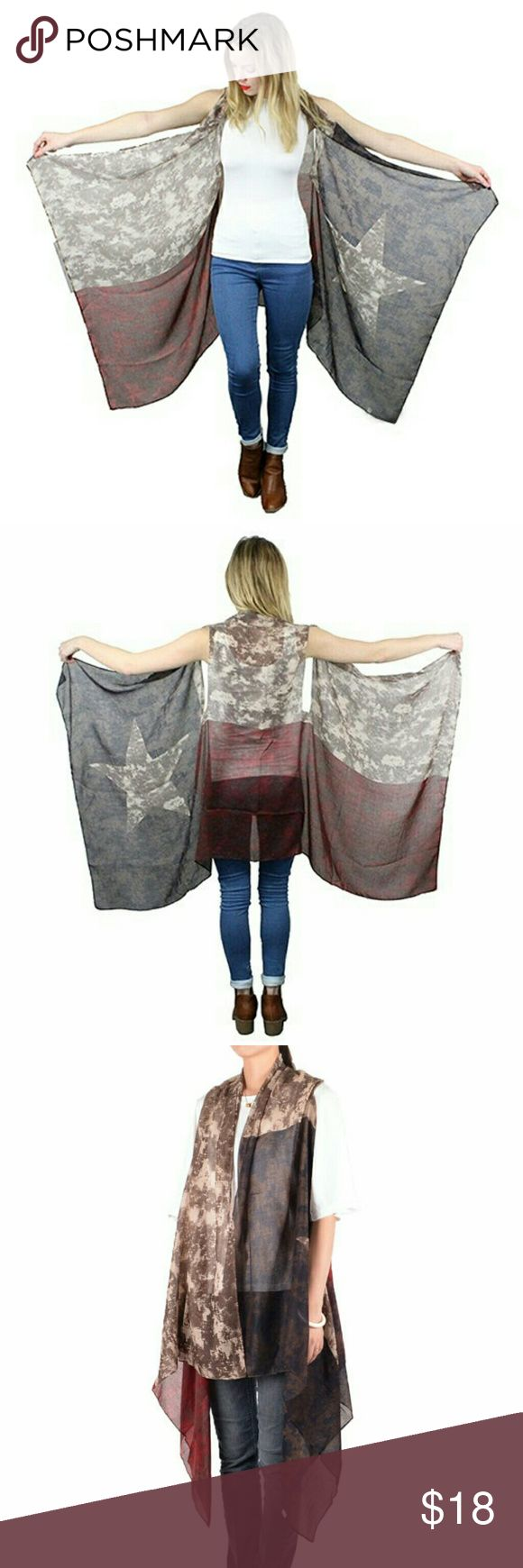 Texas Flag Kimono Vest Boho gypsy vibe. Sleeveless kimono vest featuring a vintage style distressed Texas state flag.  One size fits most.  100% Viscose.  Excellent condition! Boutique Jackets & Coats Vests