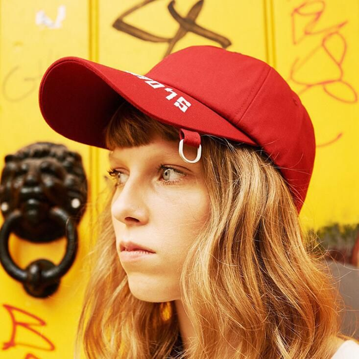 H73888 Personality iron ring letter embroidery baseball cap Korean street hip hop wild casual sun hat,8090jewelry.com