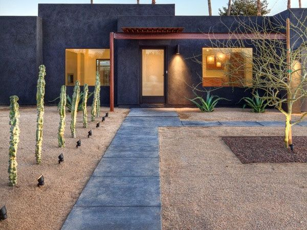 40 Truly Impressive Modern Front Yard Landscape Design Ideas : Rustic Desert Modern Front Yard Landscape Design Ideas