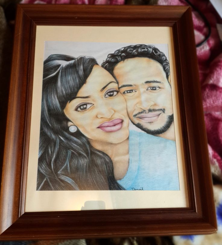 Portrait of Lovers Colored Pencils and Ink