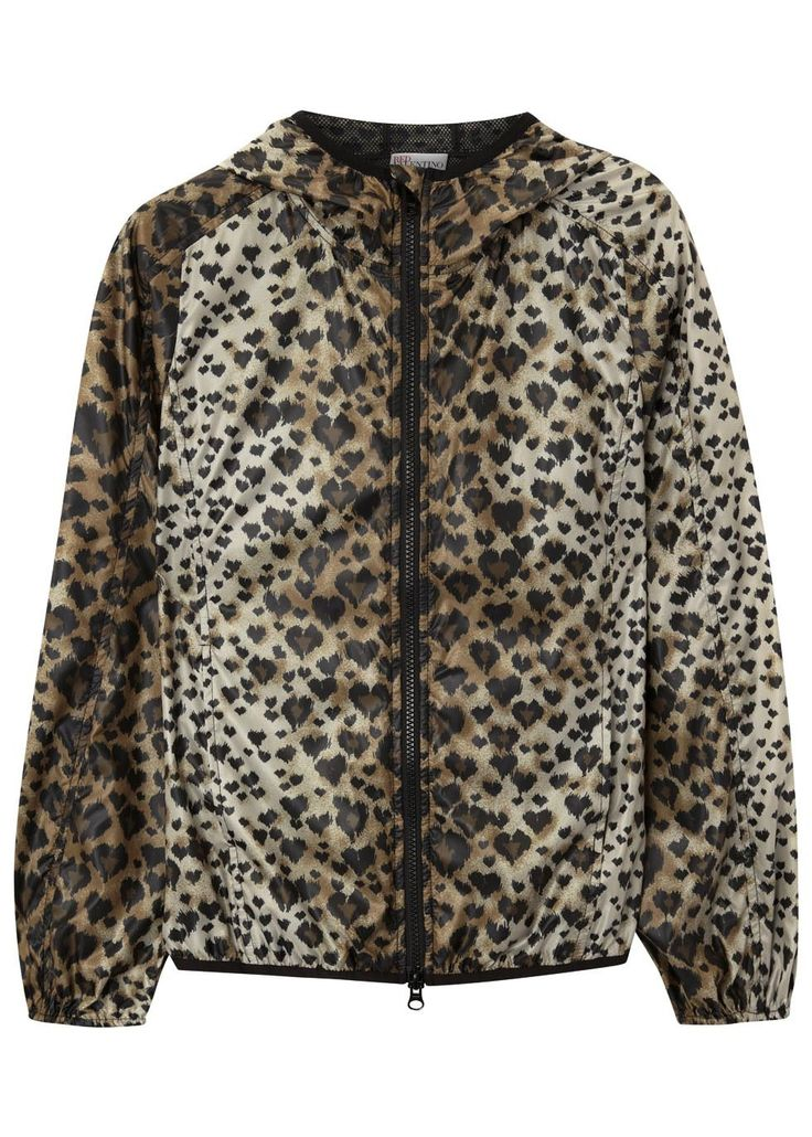 Leopard print hooded shell jacket