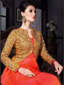 Orange With Pink color Georgette Foil Embroidered Anarkali Salwar Kameez Suit Design