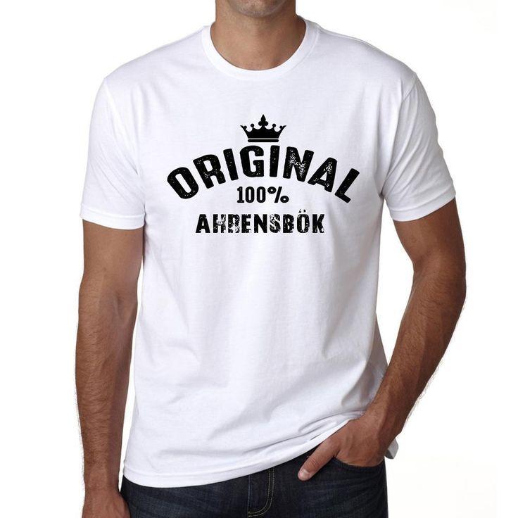 ahrensbök, 100% German city white, Men's Short Sleeve Rounded Neck T-shirt