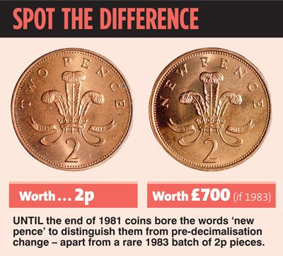 "Spot the difference: The 1983 2p coins can be worth up to £700 if they say ""new pence"""