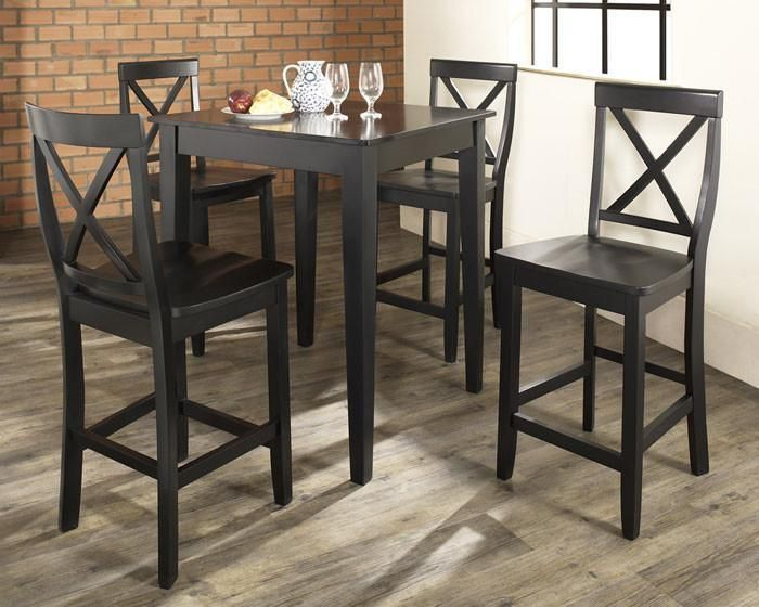 Crosley Furniture KD520005BK 5 Piece Pub Dining Set with Tapered Leg and X-Back Stools in Black Finish