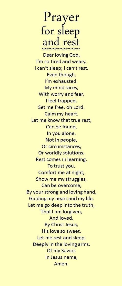 Prayer for sleep and rest