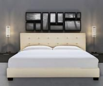 ITALIAN DESIGN NEW ALEXIS QUEEN SIZE LIGHT BEIGE WHITE QUALITY FABRIC LINEN WOODEN BED FRAME