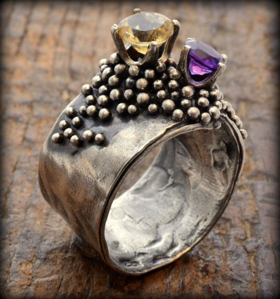 Tangibilitas Ring: Sterling silver Citrine Amethyst by Kosmimata