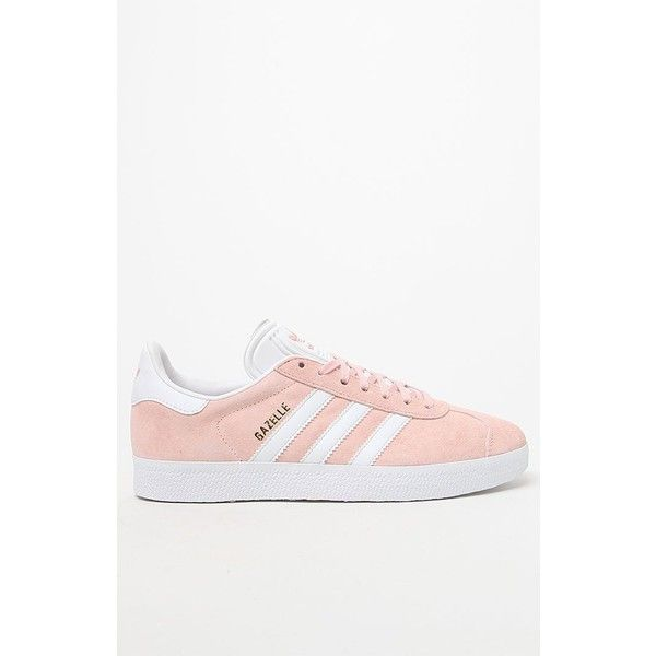 adidas Women's Pink Gazelle Sneakers (2.300 UYU) ❤ liked on Polyvore featuring shoes, sneakers, lace up shoes, pink suede shoes, pink trainers, adidas shoes and adidas sneakers
