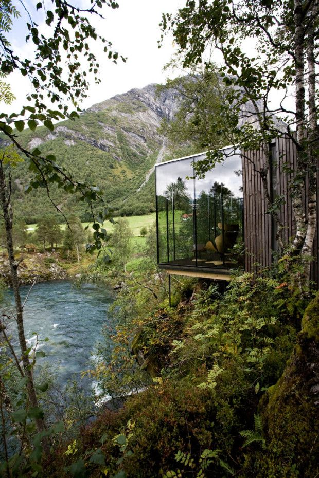"Jensen & Skodvin Architects bring us this quaint yet solid hotel featuring stunning minimal architecture and spectacular views. Based in Gudbrandsjuvet, Norway this ""cabin"" is ideal for a quiet getaway in the woods."