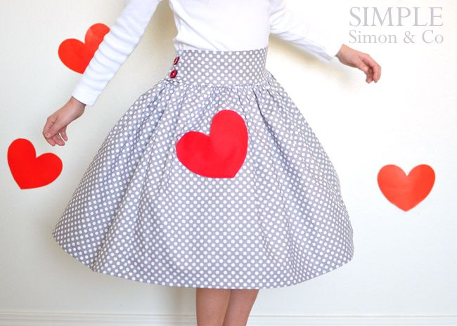 Simple Simon & Company: A Valentine Skirt.  Link to skirt tutorial included
