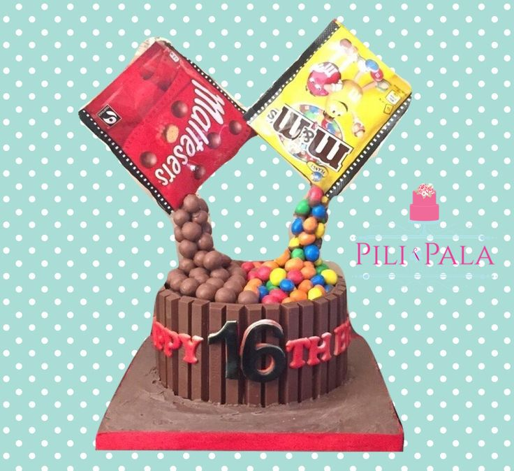Gravity defying / self pouring chocolate cake with kit kats, peanut m&ms and maltesers!